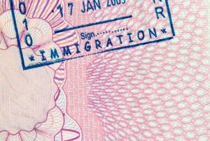 Immigration stamp on passport