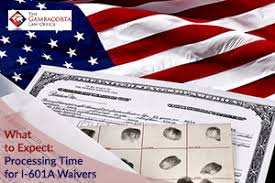 American flag and I-601A Waiver documents